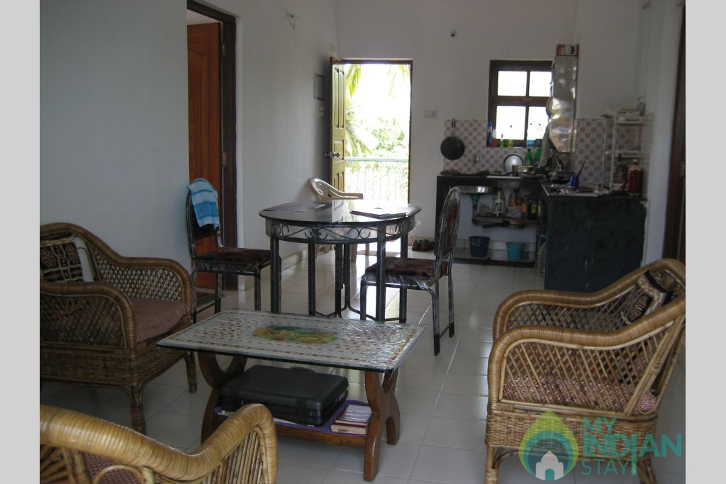 Living room in a Self Catered Apartment in Candolim, Goa
