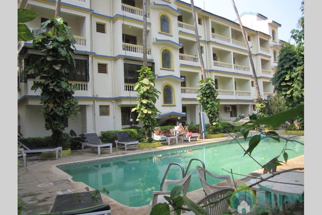 pool side view in a Resort in Calangute, Goa