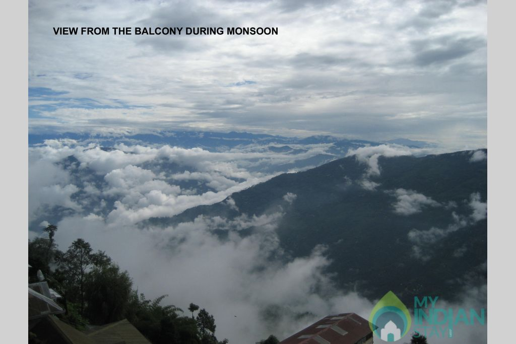 VIEW DURIN MONSOON in a Guest House in Darjeeling, West Bengal