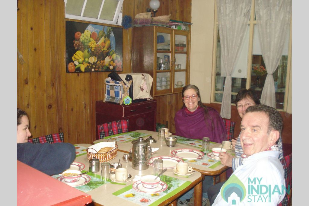 Guests having breakfast in a Guest House in Darjeeling, West Bengal