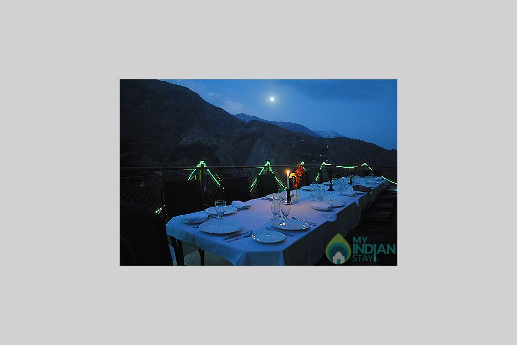 open air dining  in a Guest House in Dharamshala, Himachal Pradesh
