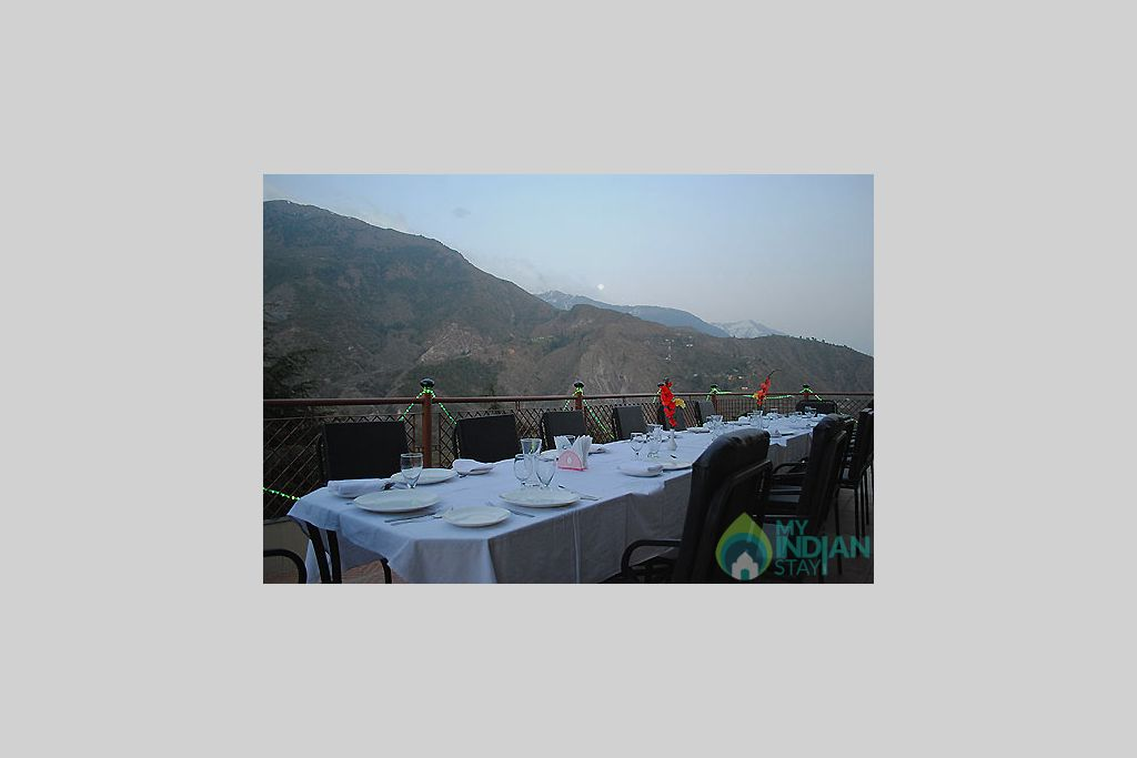 Open air sitting  in a Guest House in Dharamshala, Himachal Pradesh