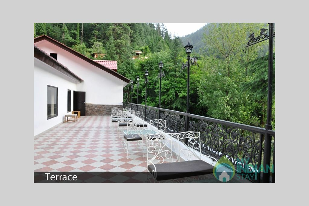 Open air terrace in a Guest House in Kasol, Himachal Pradesh