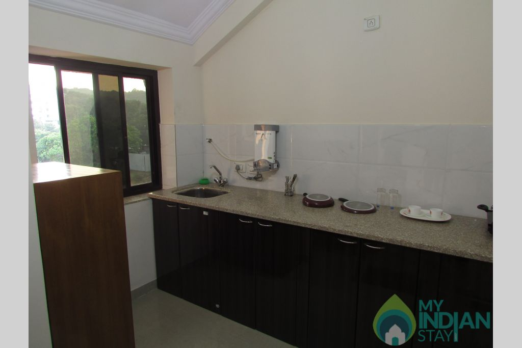 Kitchen area  in a Serviced Apartment in Siolim, Goa