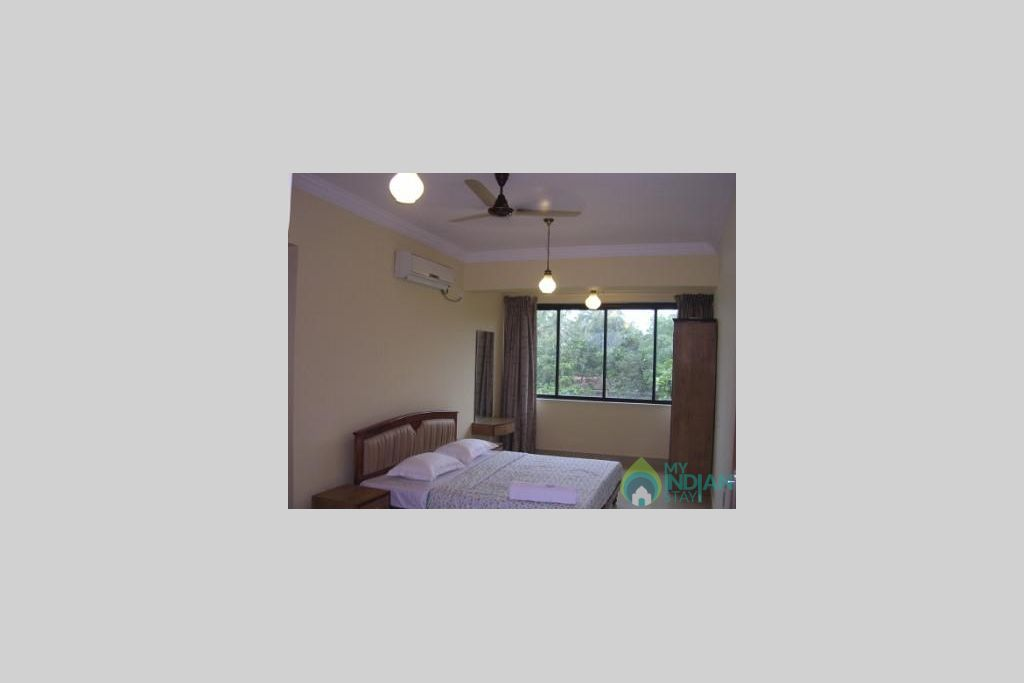 Bed room with view in a Serviced Apartment in Vagator, Goa