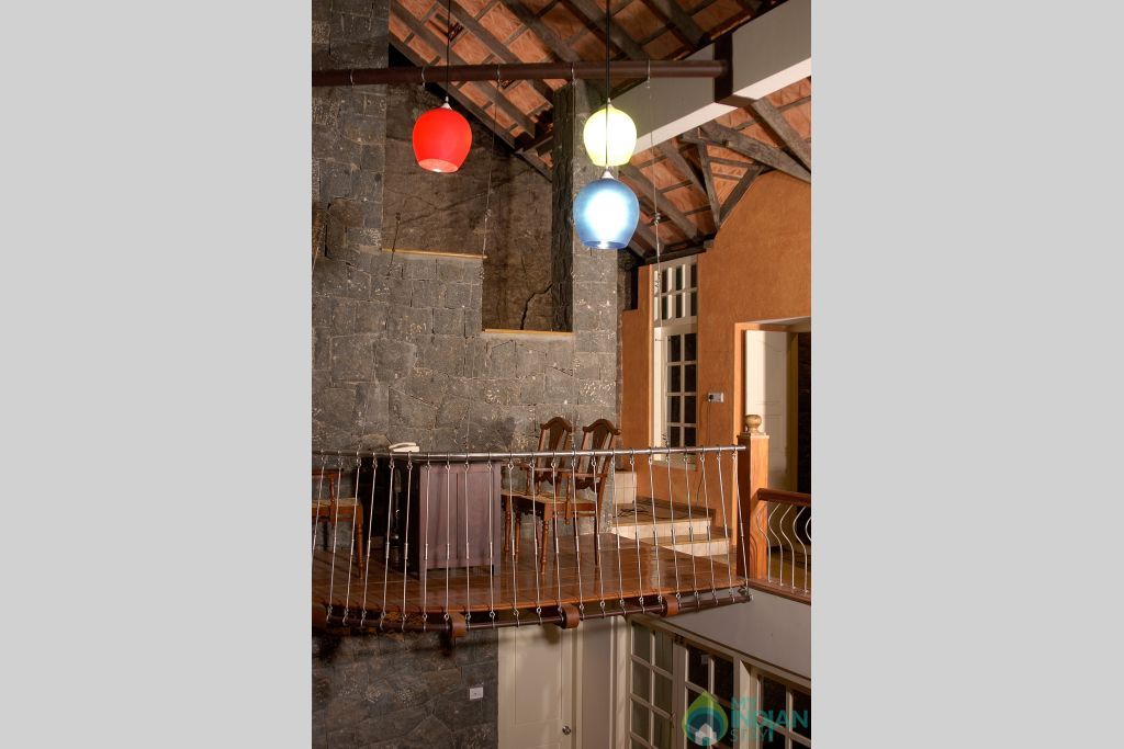 suspended living room in the villa and deck bed in a Villa in Idukki, Kerala