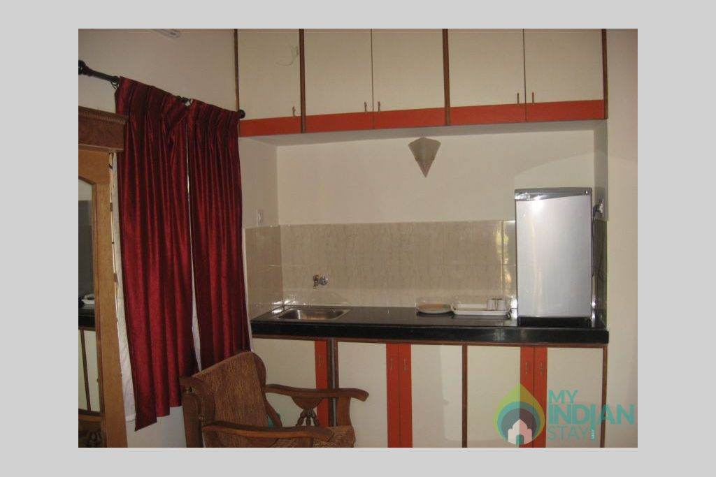 kitchen in a Serviced Apartment in Calangute, Goa