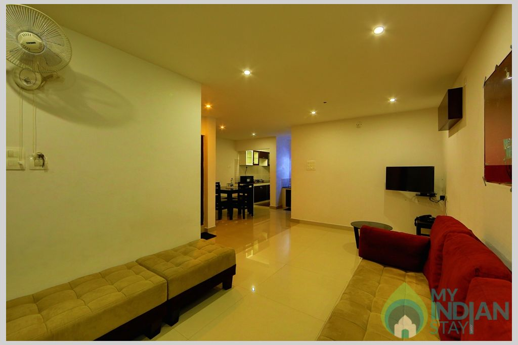 apartment living hall in a Serviced Apartment in Angamaly, Kerala