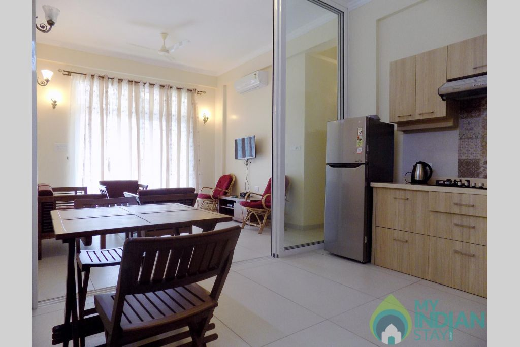 2 CasaMelhor Candolim Living cum Dinning area in a Serviced Apartment in Candolim, Goa