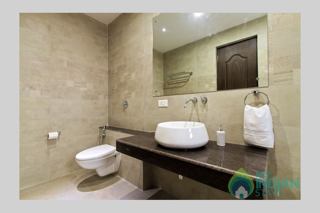 spacious-bathroom in a Villa in Calangute, Goa