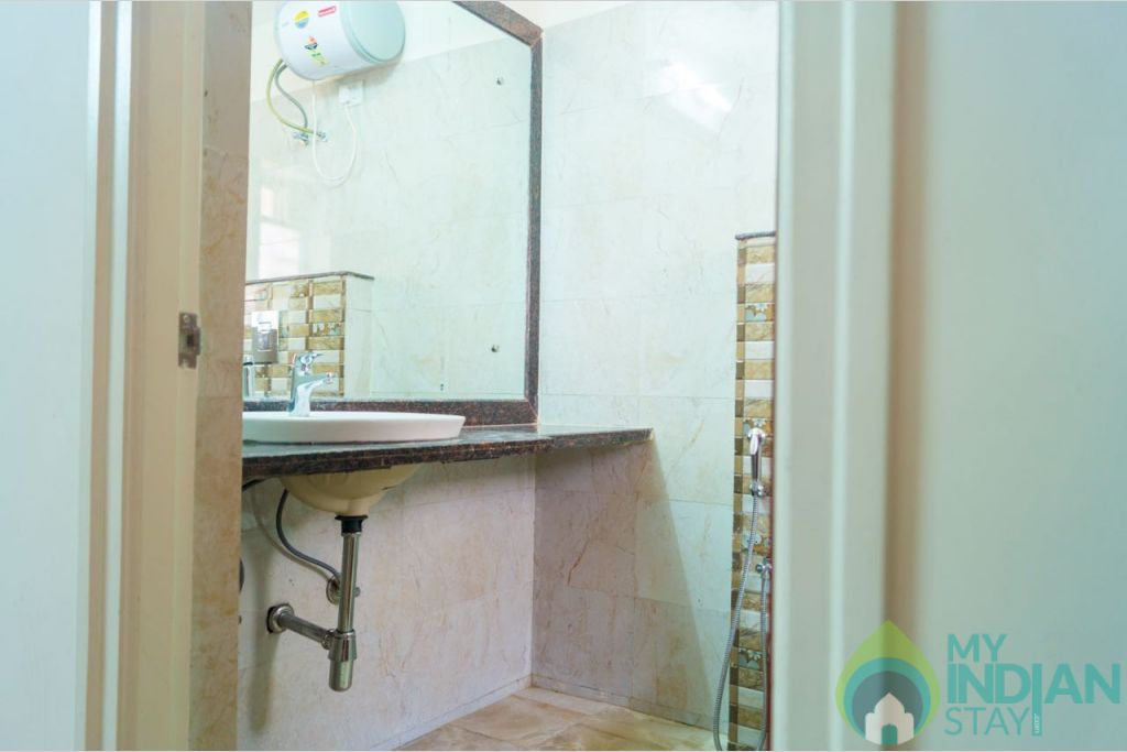 Bathroom in a Serviced Apartment in Calangute, Goa
