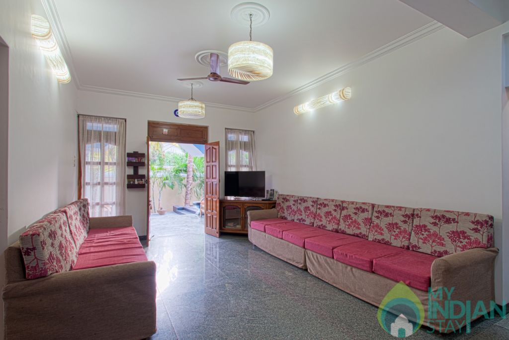 Living room in Goa with mood lighting in a Villa in Calangute, Goa