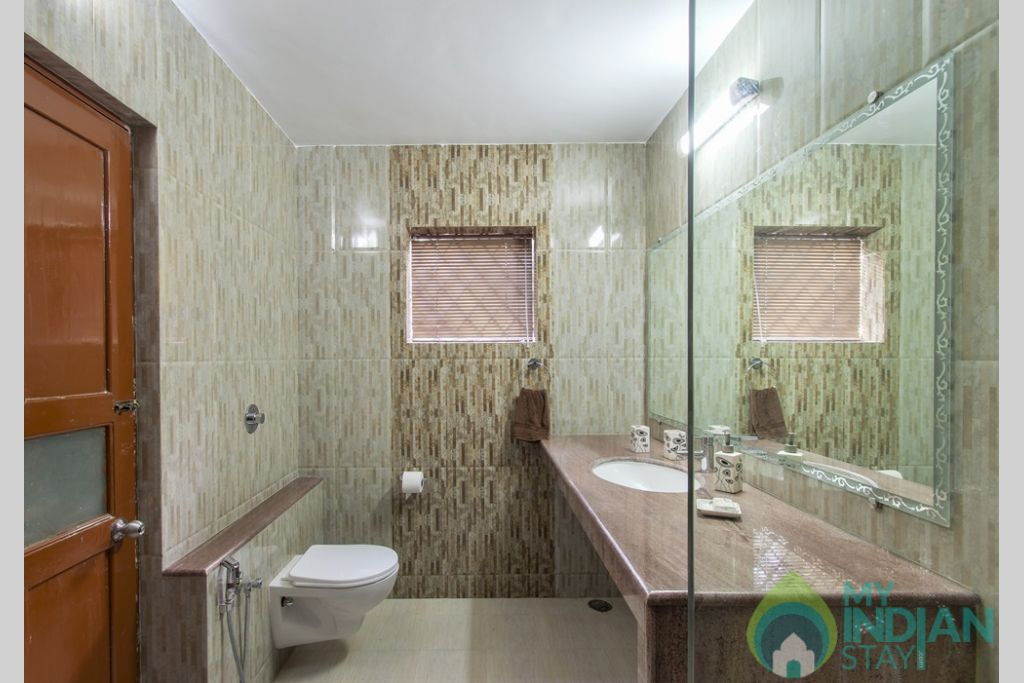 Blue En Suite Bathroom-Villa Calangute offers the best in accommodation with plenty of space in a House in Calangute, Goa