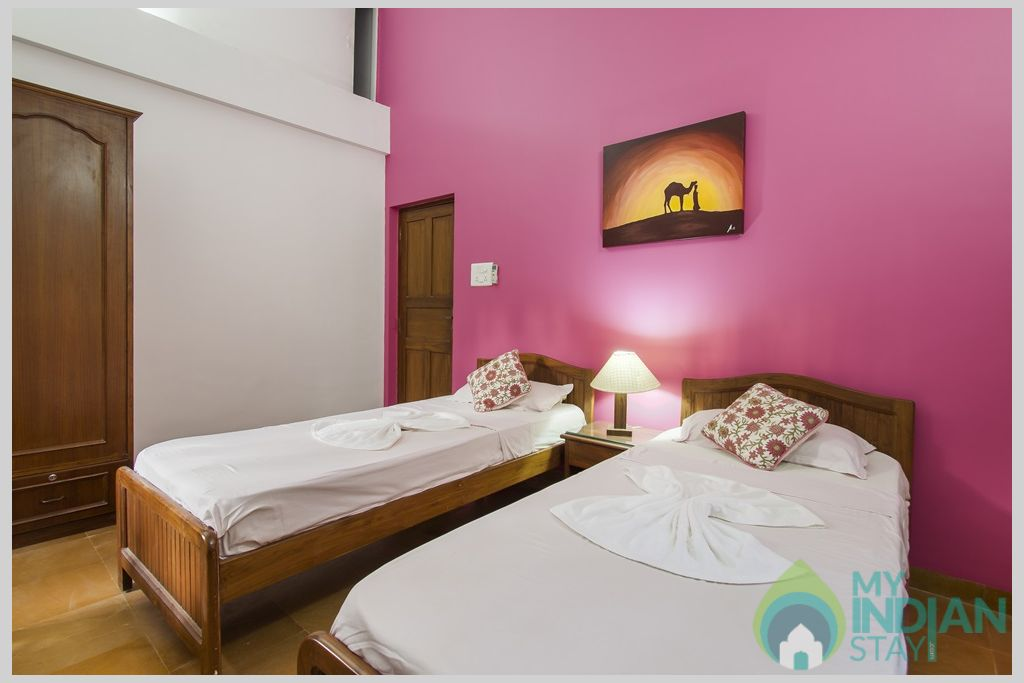 Pink Twin Bedroom-Bedrooms at Villa Calangute are impressive and a pure indulgence in a House in Calangute, Goa