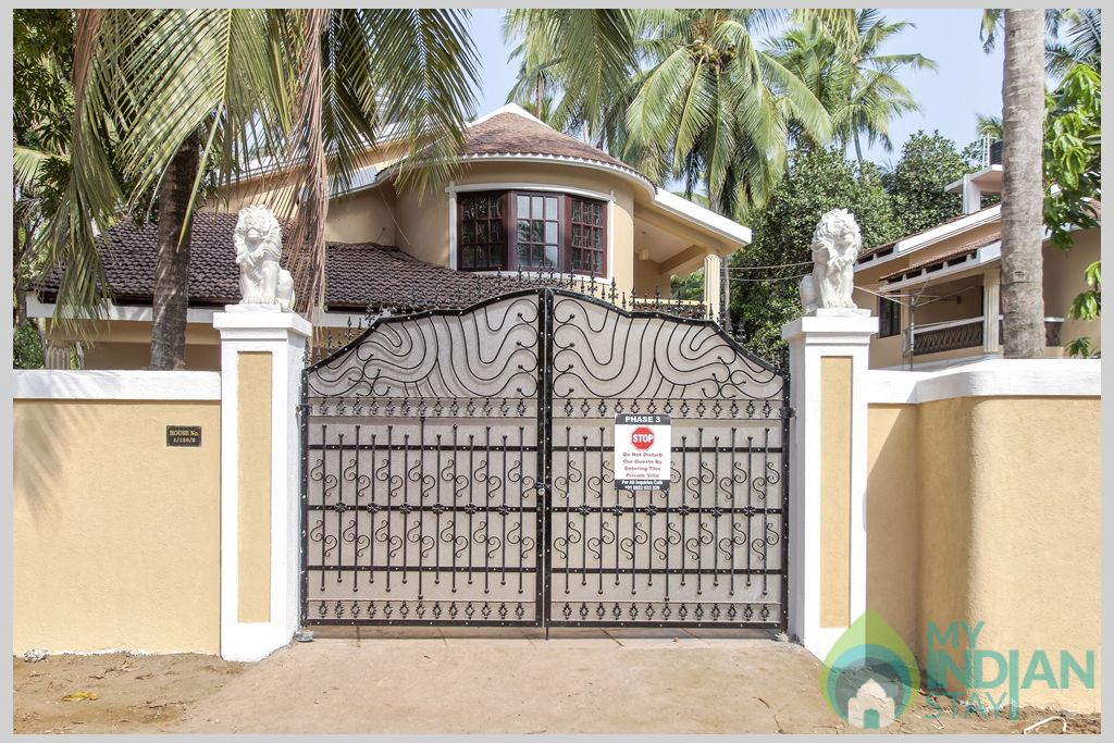 Grand gate and Exterior of the Villa for optimum safety in accommodation in Goa in a House in Calangute, Goa