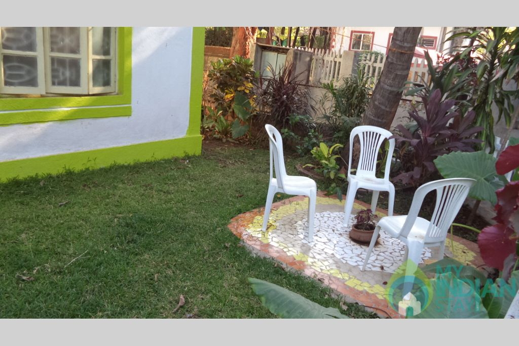 Garden sitout in a Self Catered Apartment in Calangute, Goa