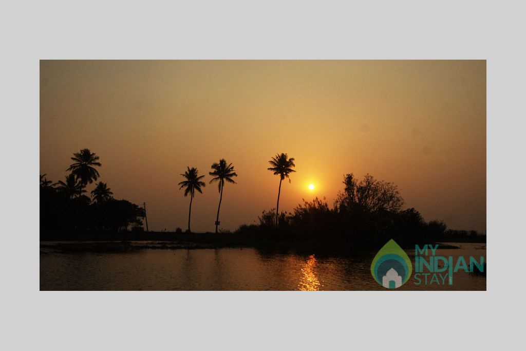 Sunset View from Room in a HomeStay in Kumarakom, Kerala