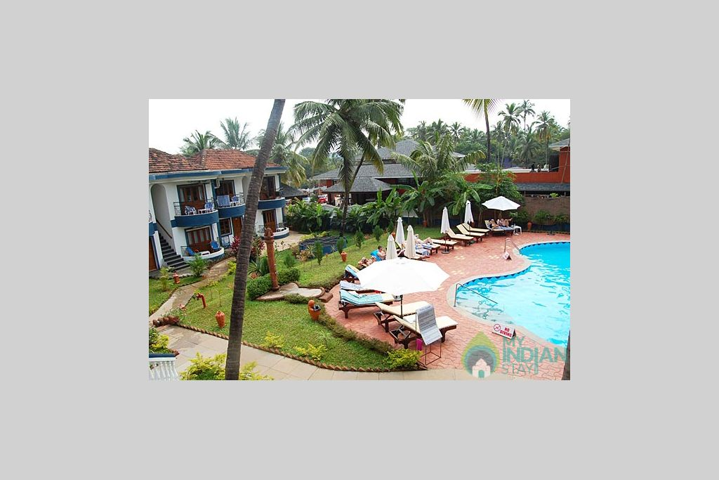 Pool_view in a Self Catered Apartment in Candolim, Goa