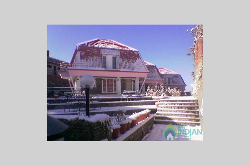 Cottage View with Snow in a Resort in Shimla, Himachal Pradesh