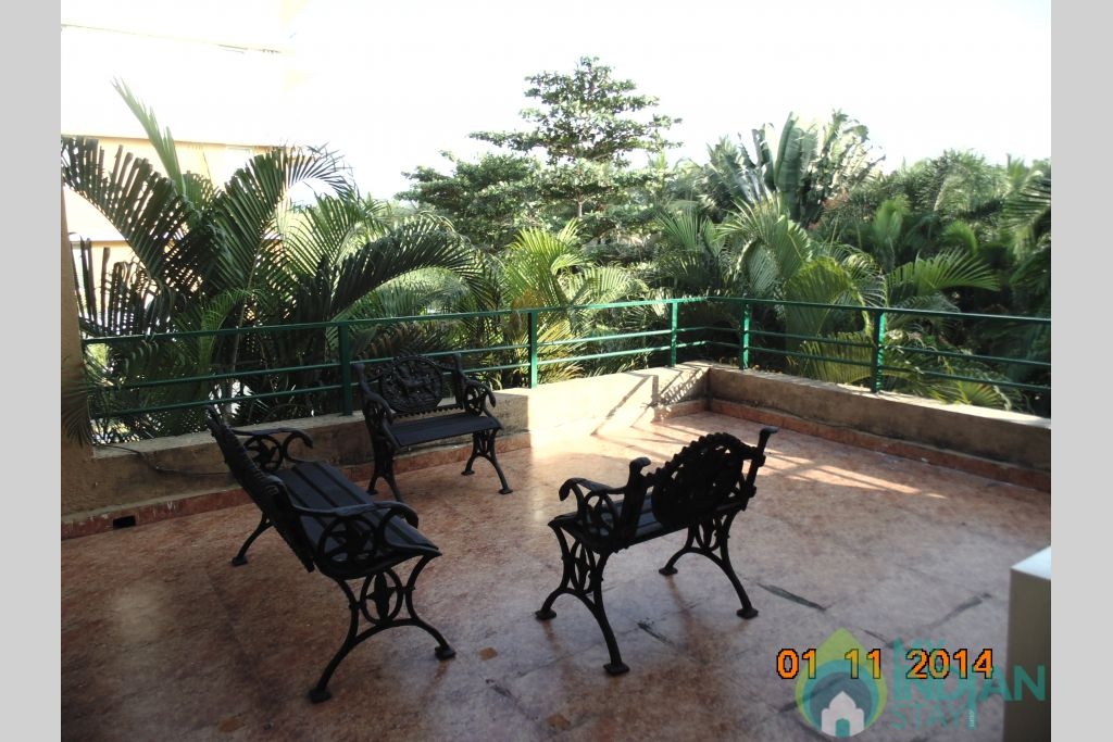 the open terrace seating in a Villa in Varca, Goa