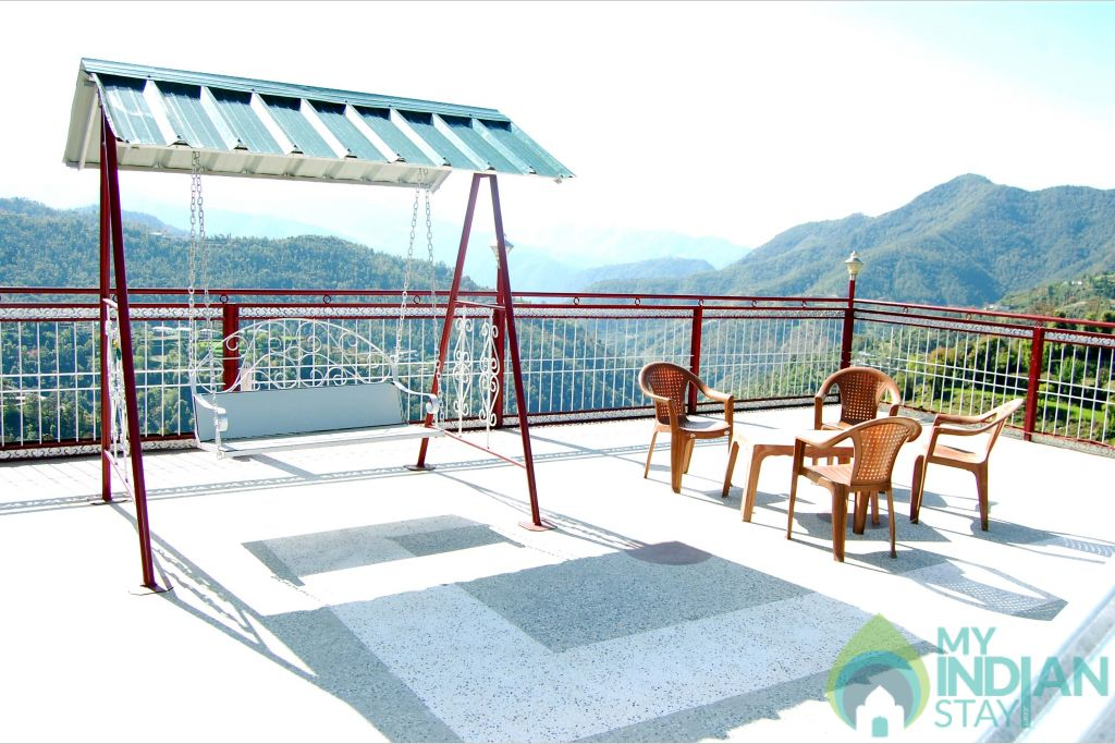 terrace in a HomeStay in Shoghi, Himachal Pradesh