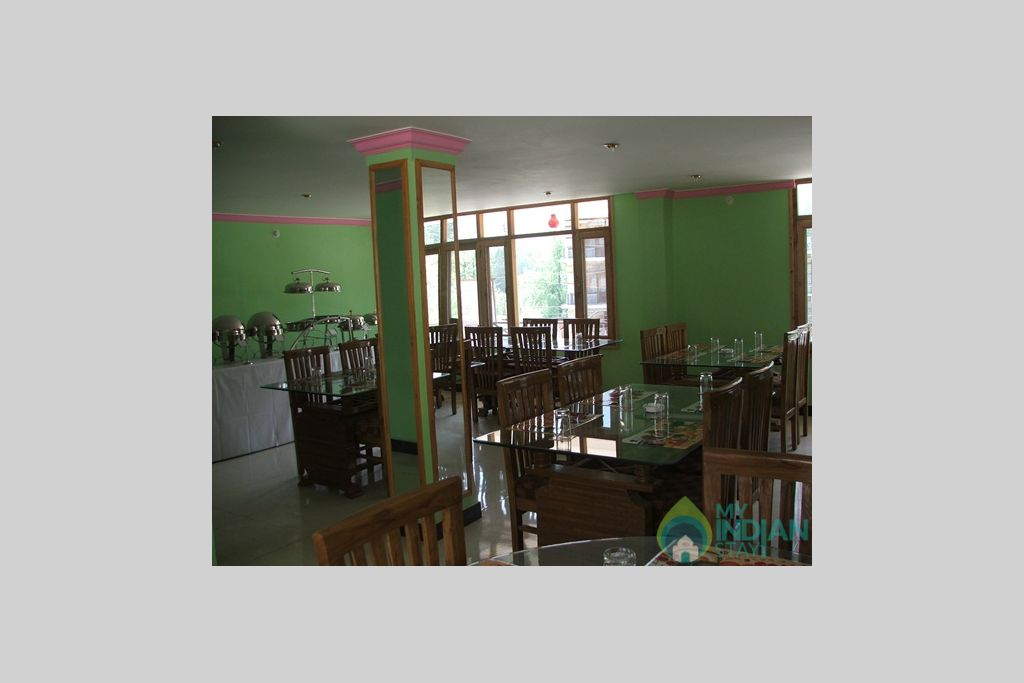 Dining hall in a Guest House in Manali, Himachal Pradesh