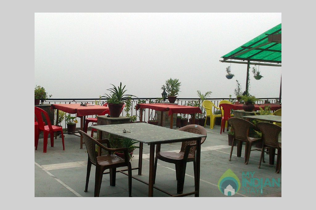 Top roof restaurant in a Guest House in Manali, Himachal Pradesh
