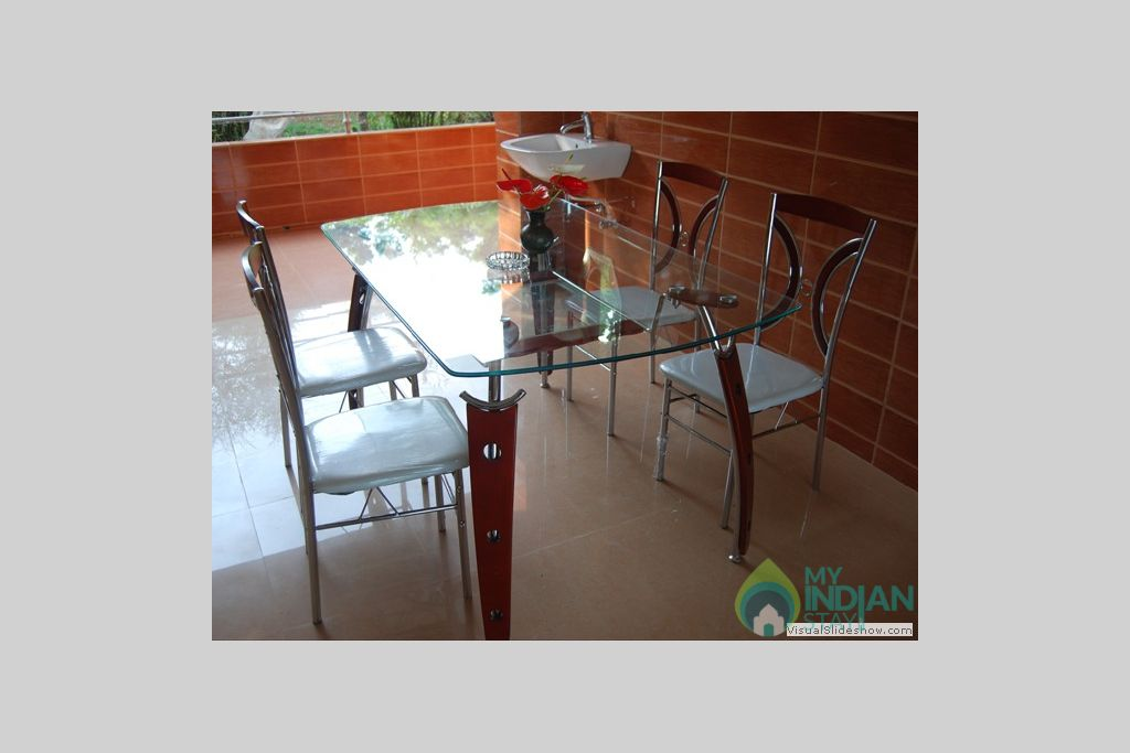 Dining Table in a Guest House in Madikeri, Karnataka