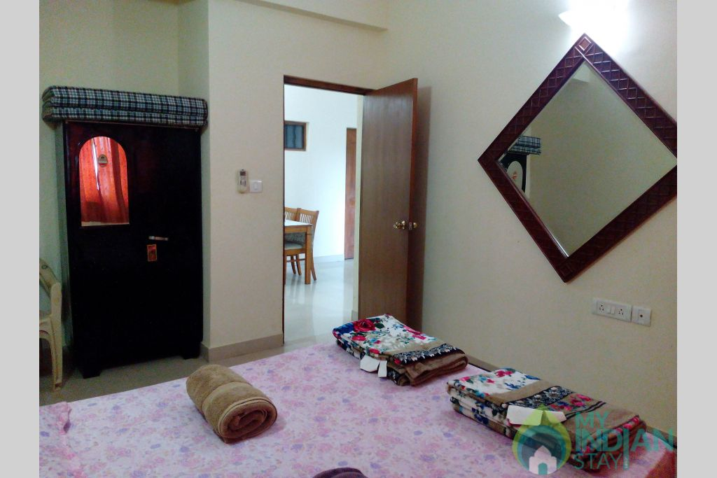 View of Guerst Bedroom and Dining area in a Serviced Apartment in Dona Paula, Goa