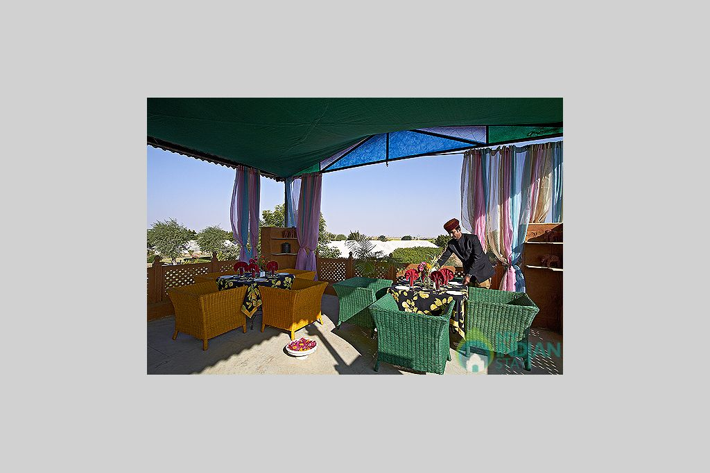 Lounge-Area-near-Pool-Side in a Tents in Jaisalmer, Rajasthan