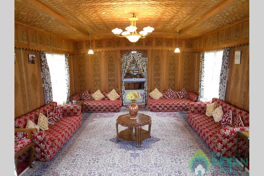 Sitting Room in a Boat in Srinagar, Jammu and Kashmir
