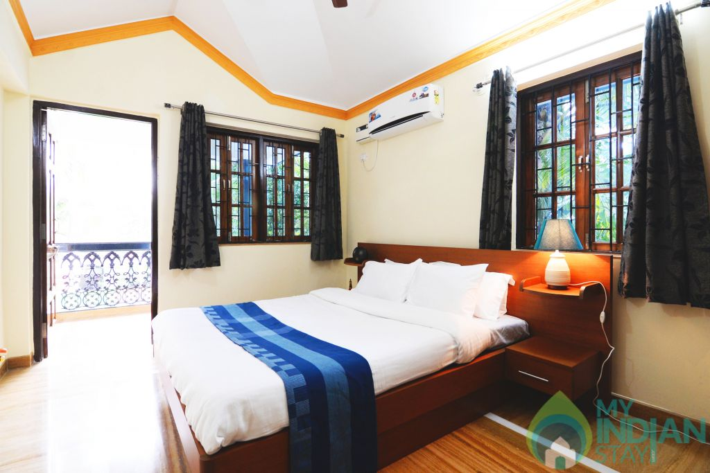apartment bedroom in a Serviced Apartment in Benaulim, Goa