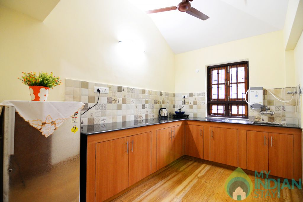 apartment kitchen in a Serviced Apartment in Benaulim, Goa
