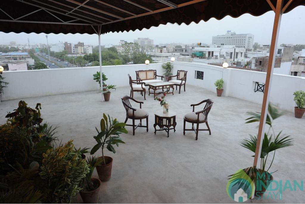Terrace in a HomeStay in Jaipur, Rajasthan