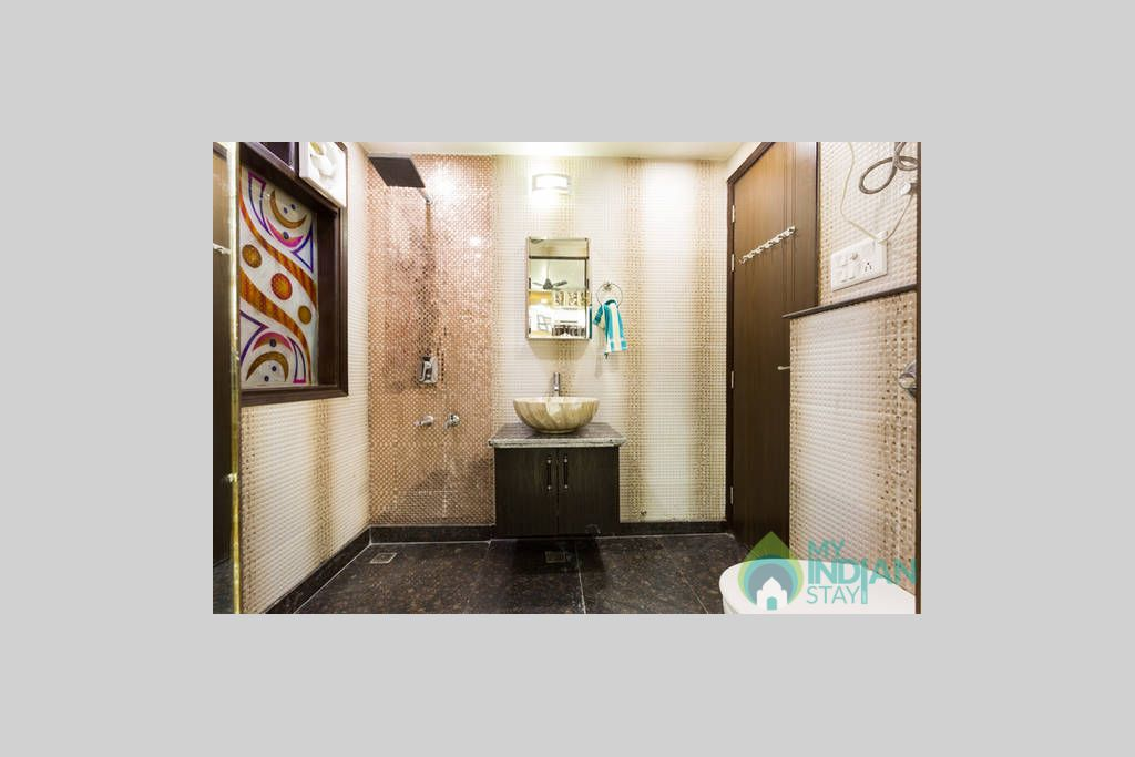 Washroom 2 Joined with living room and bedroom twin door in a Self Catered Apartment in Delhi, Delhi