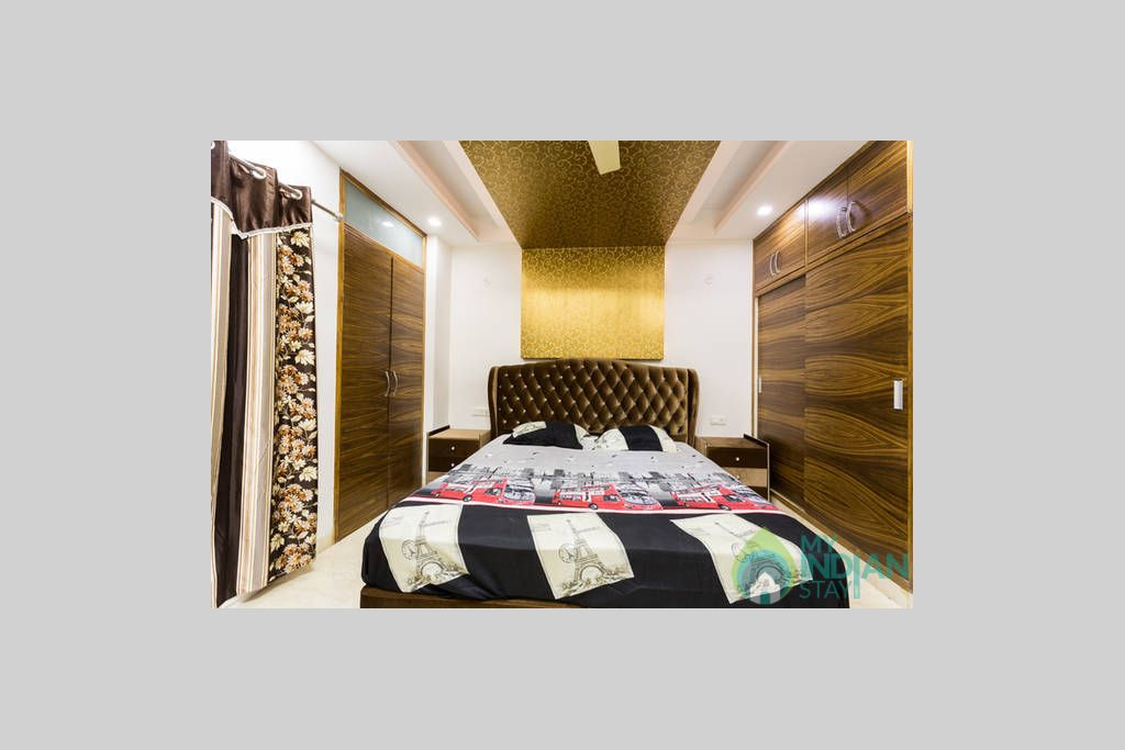 Walkin Washroom Door from Queen Room with Wardrobe in a Self Catered Apartment in Delhi, Delhi